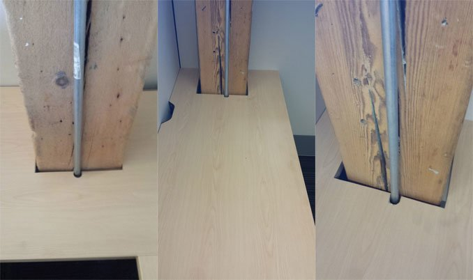 Customized office desks, cut to fit existing columns